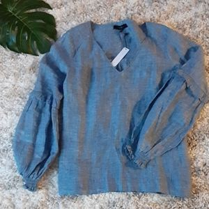 Sanctuary chambray linen blouse top nwt M